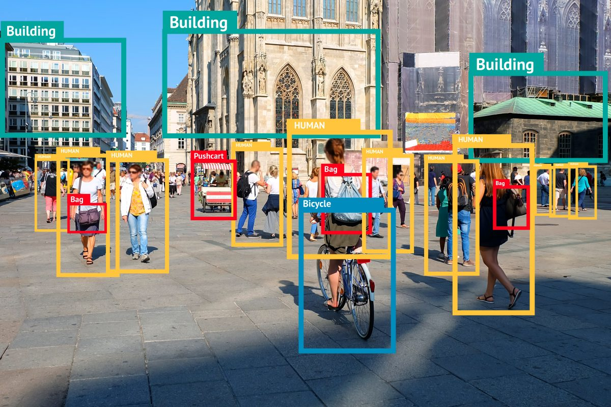 visual identification artificial intelligence shows bikes, bags, buildings and other identifiable components of image