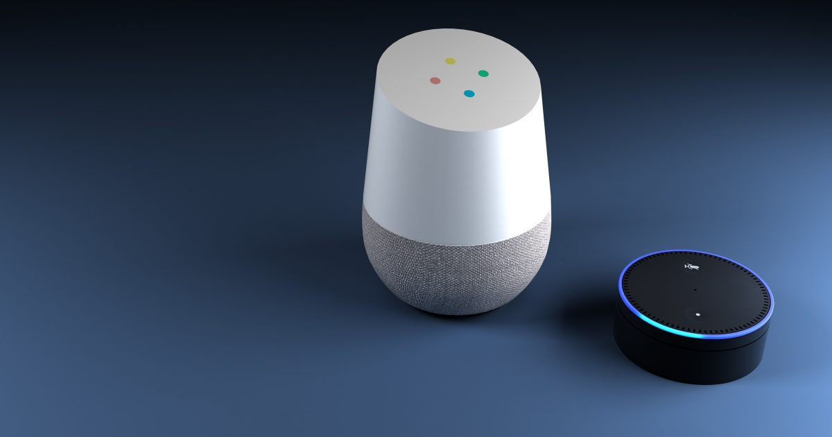 Google home and Amazon echo dot. Voice activated devices.