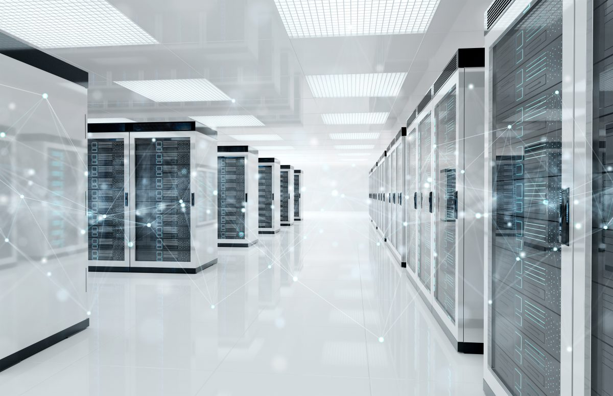 Room in data centre storage facility with connection nodes mapped over it.